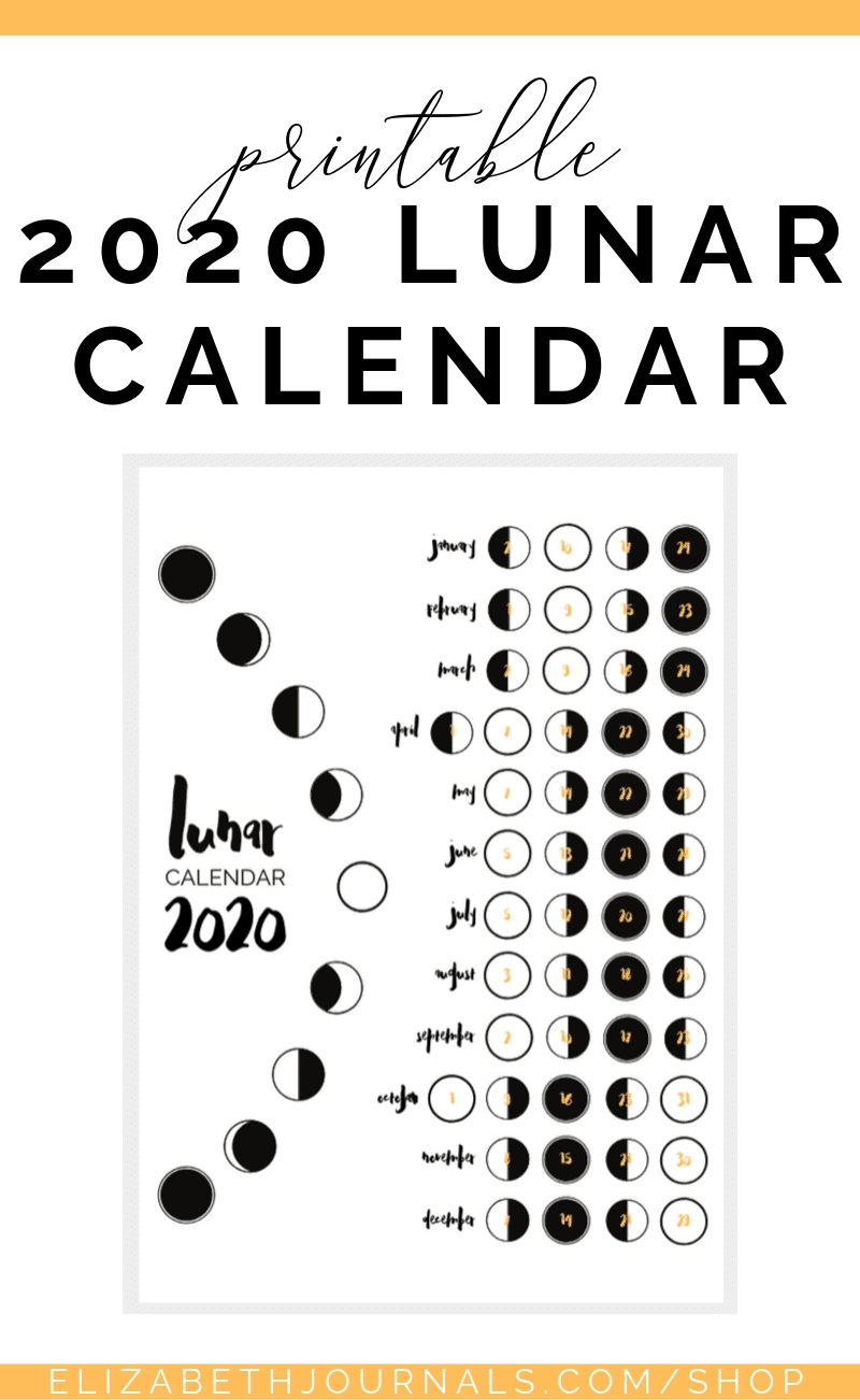 2020 Lunar Calendar Bullet Journal Printable | Bullet  2020 Solar Calendar Vs Lunar Calendar