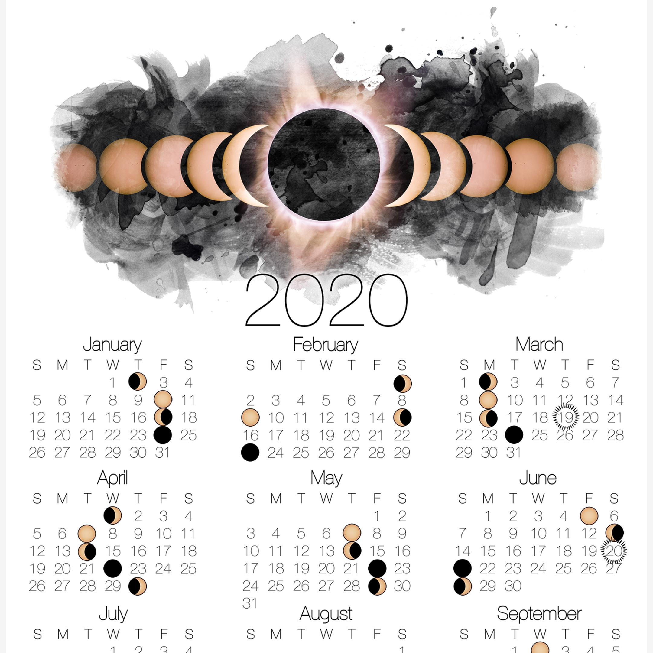 2020 Moon Phase Calendar With Solar Eclipse In 2020 | Moon  Solar Lunar Calendar 2020