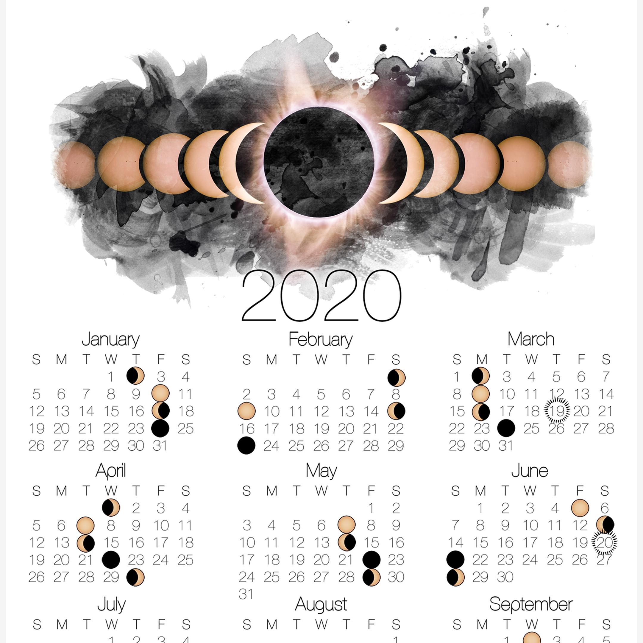 2020 Moon Phase Calendar With Solar Eclipse In 2020 | Moon  Solar Lunar Calendar 2020