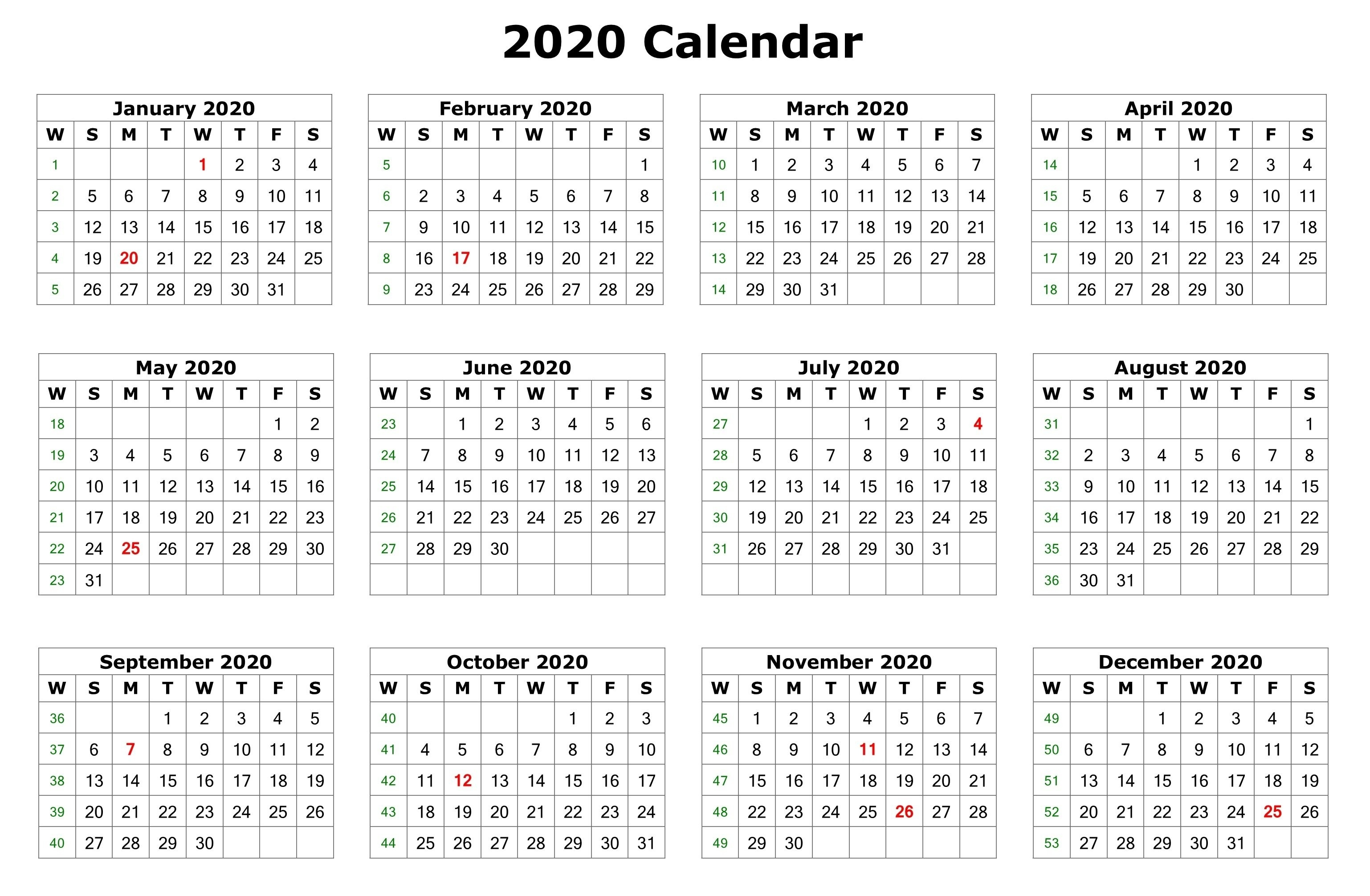 2020 One Page Calendar Printable | Calendar 2020  Calendar 2020 Printable One Page