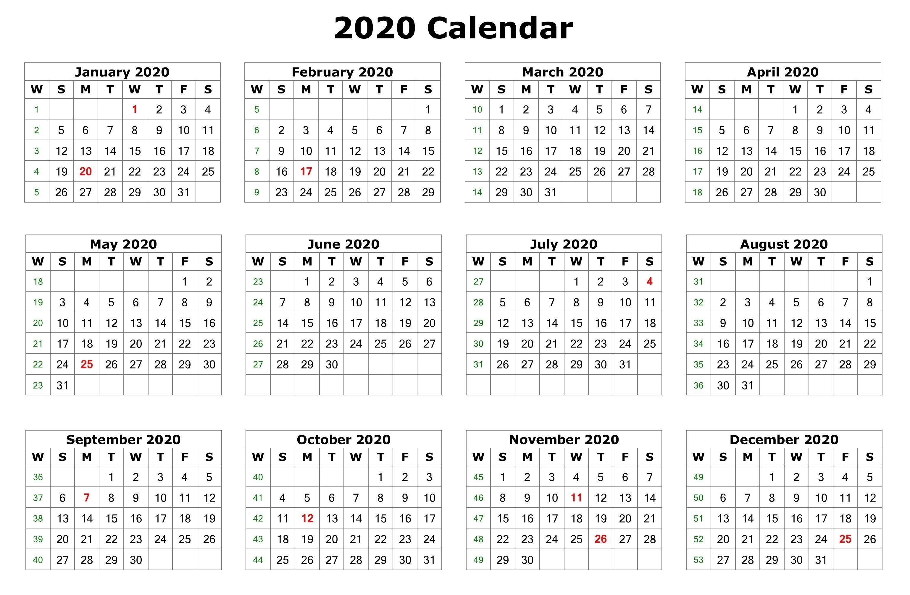 2020 One Page Calendar Printable | Calendar Printables  12 Month Calendar 2020 Printable Free
