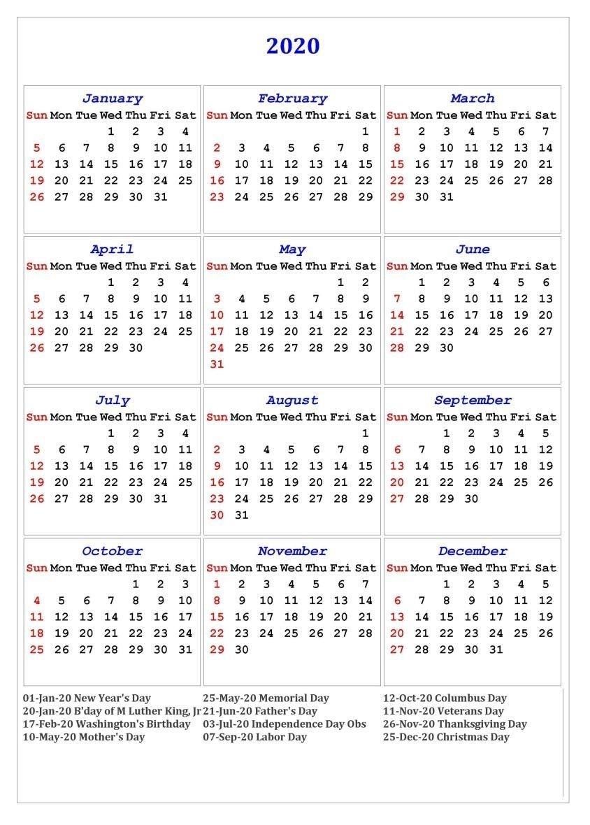 2020 One Page Calendar Printable | Calendar Printables  2020 Calendar With Holidays Printable One Page