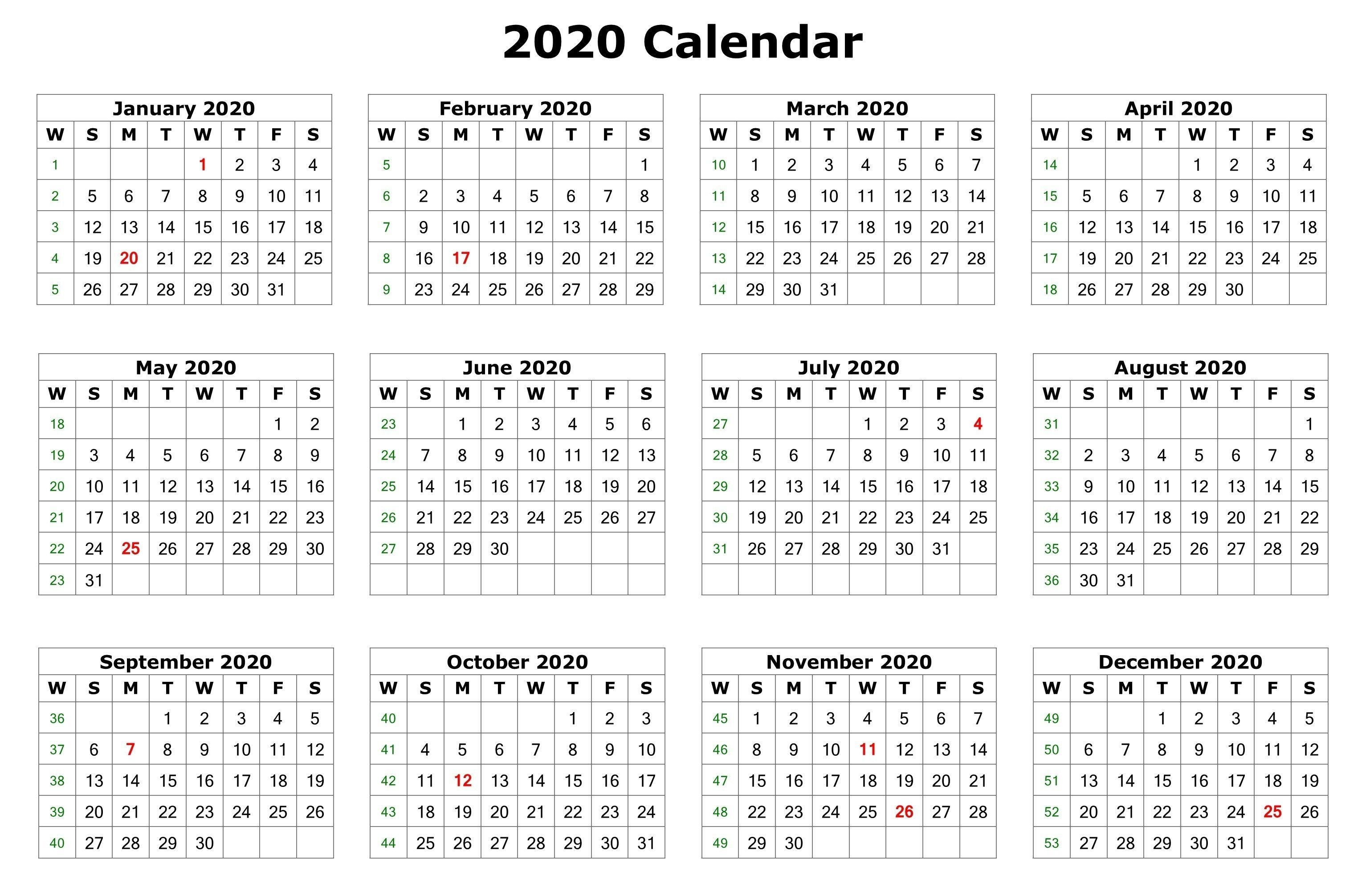 2020 One Page Calendar Printable | Calendar Printables  3 Month On One Page