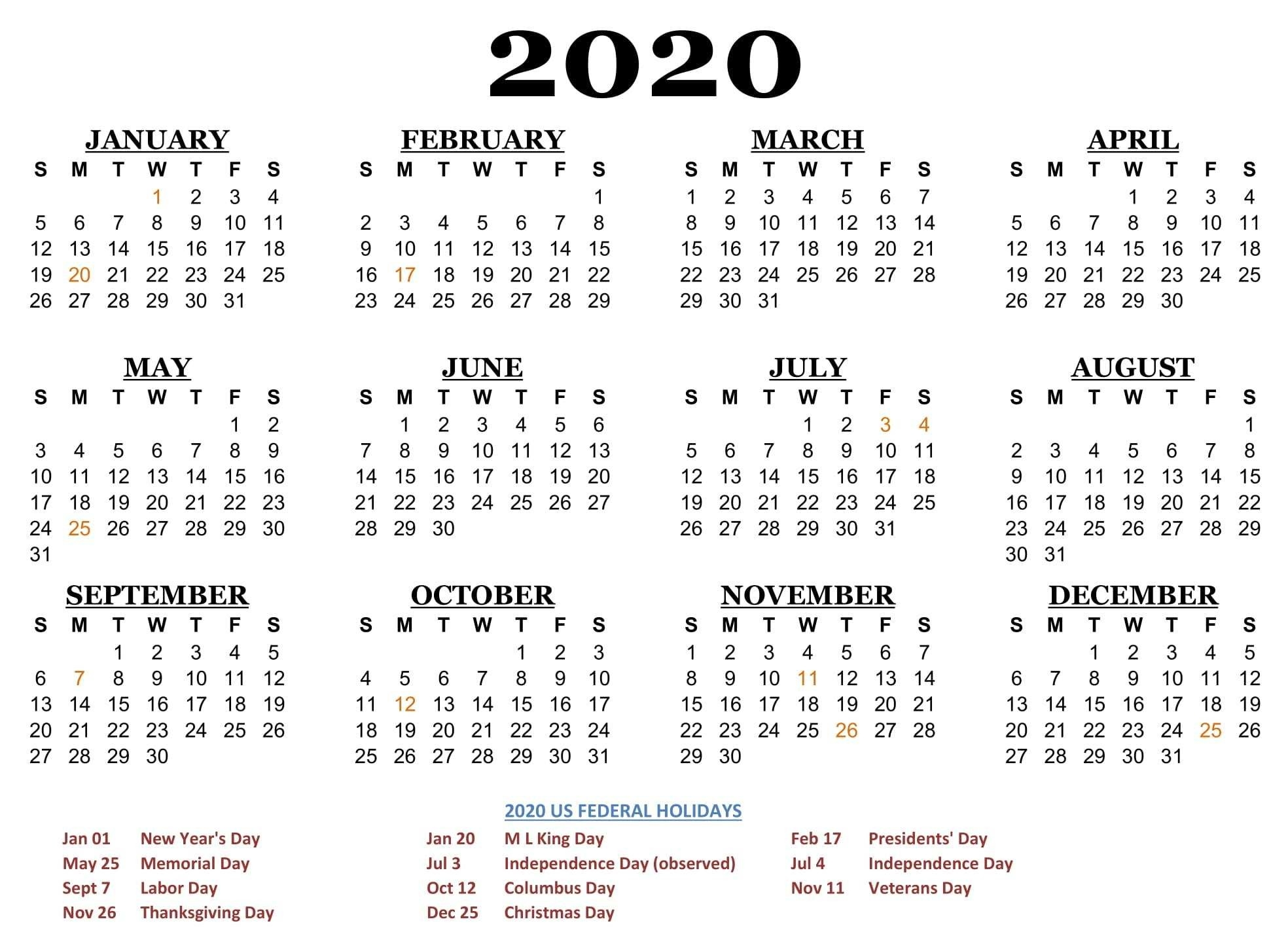 2020 One Page Calendar Printable Download | Calendarbuzz  2020 Calendar With Holidays Printable One Page