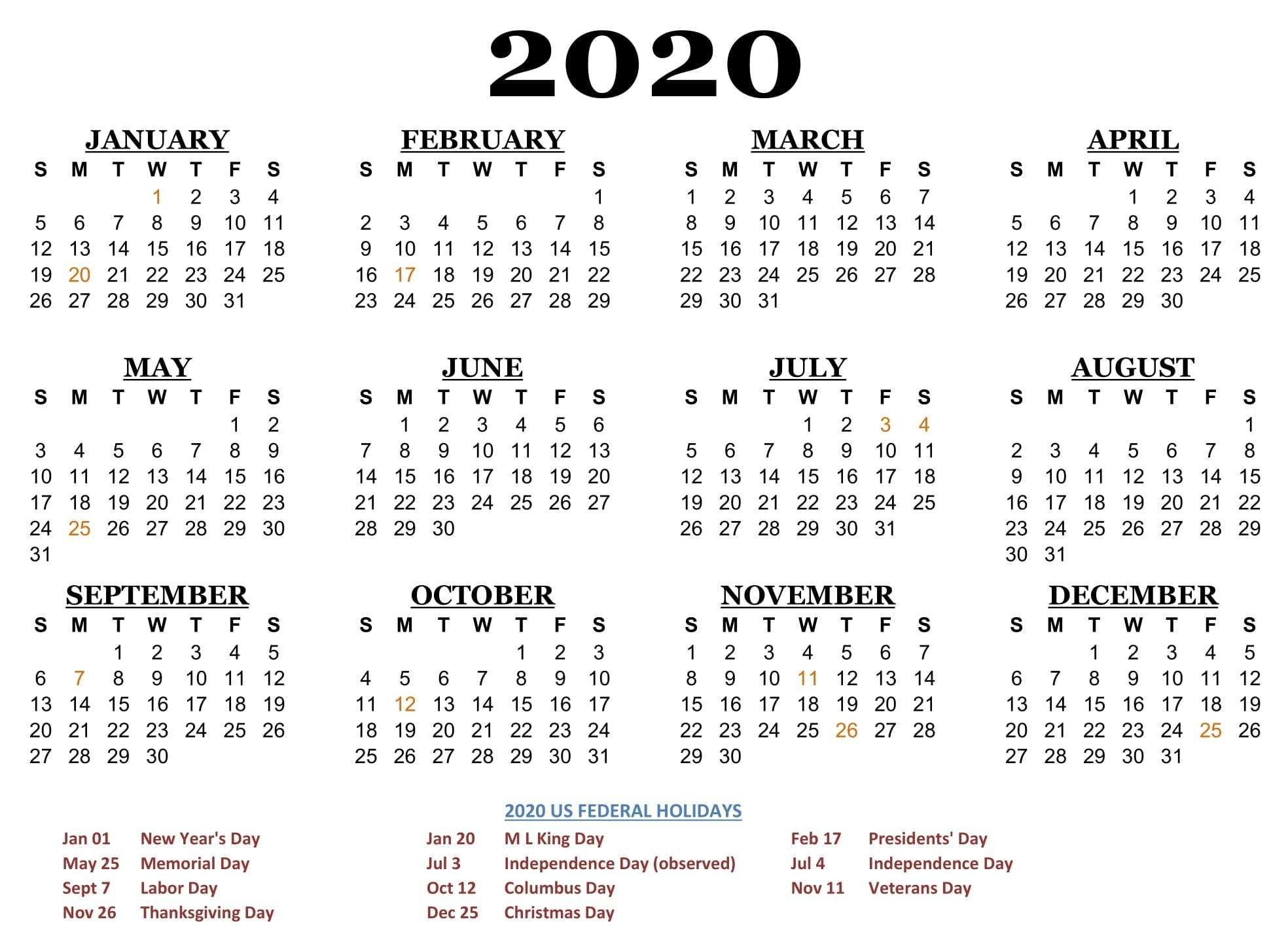 2020 One Page Calendar Printable Download | Calendarbuzz  Year 2020 Calendar Printable