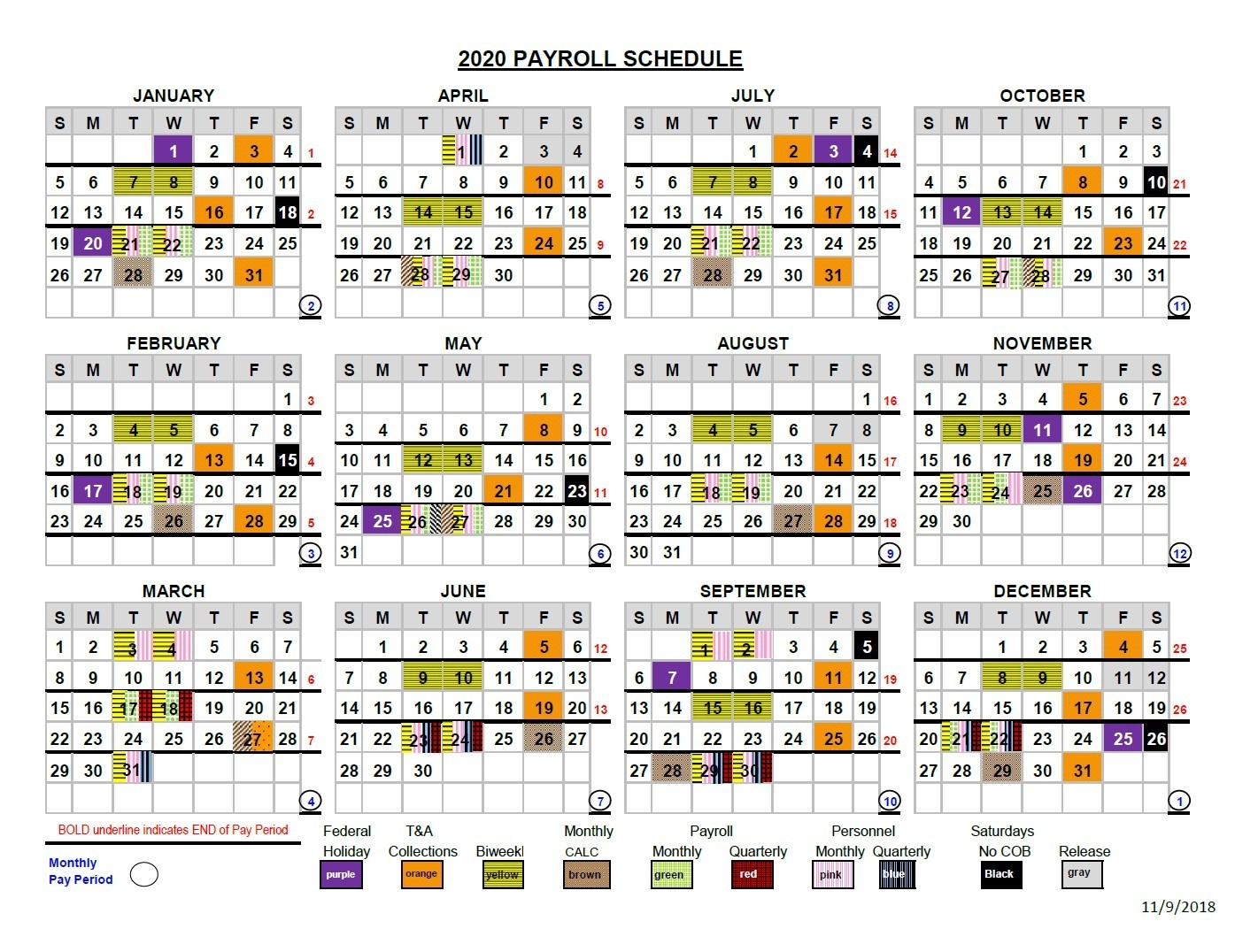 2020 Pay Periods Calendar  2020 Federal Pay Period Calendar Printable