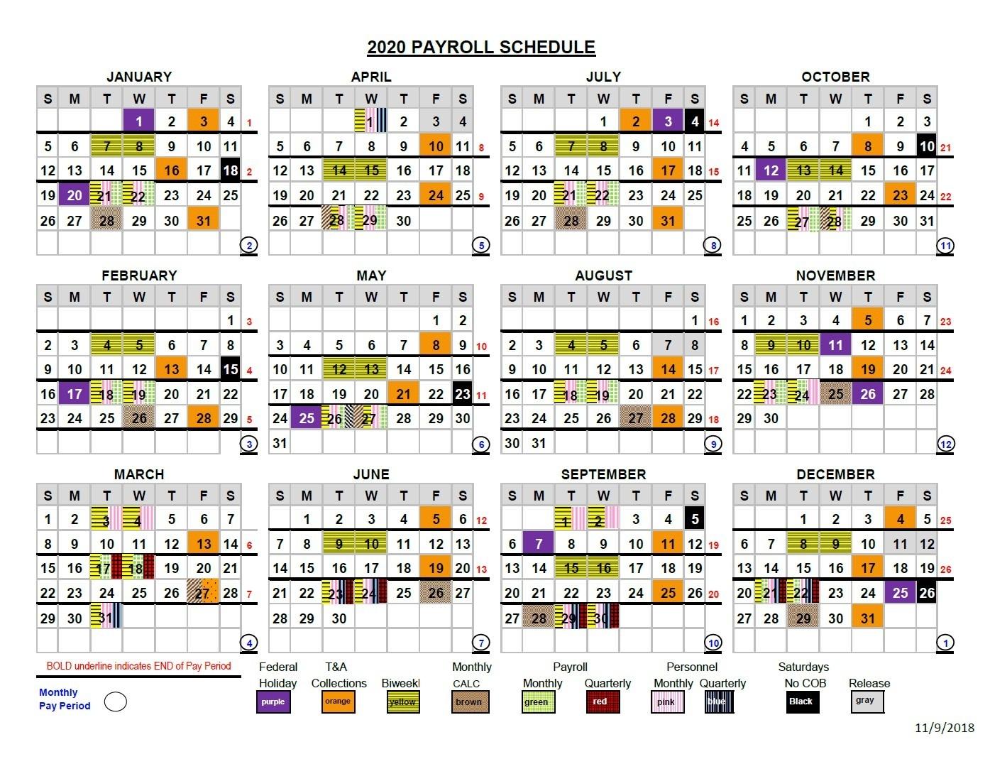 2020 Pay Periods Calendar  2020 Government Payroll Calendar
