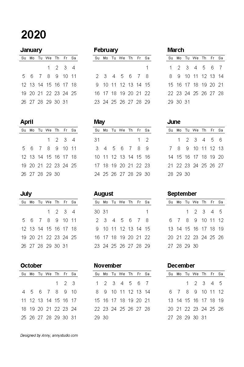 2020 Pdf Printable Calendar | Printable Calendar Template  Print Pocket 2021 Calendar Free
