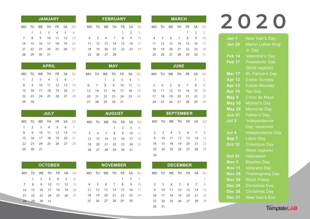 2020 Printable Calendars [Monthly, With Holidays, Yearly] ᐅ  2020 Calendar With Holidays Printable One Page