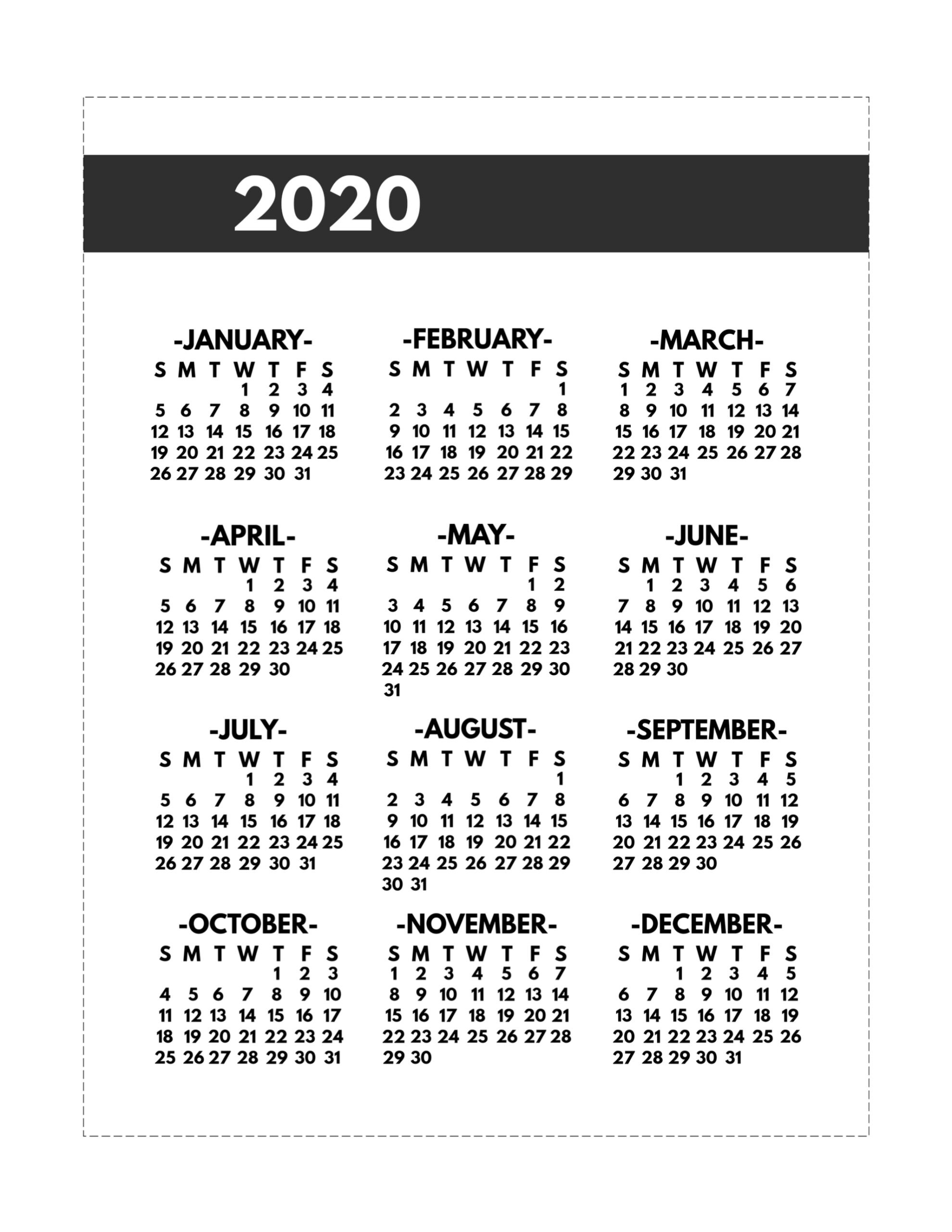 2020 Printable One Page Year At A Glance Calendar - Paper  One Page Yearly 2020 Calendar Free Printable