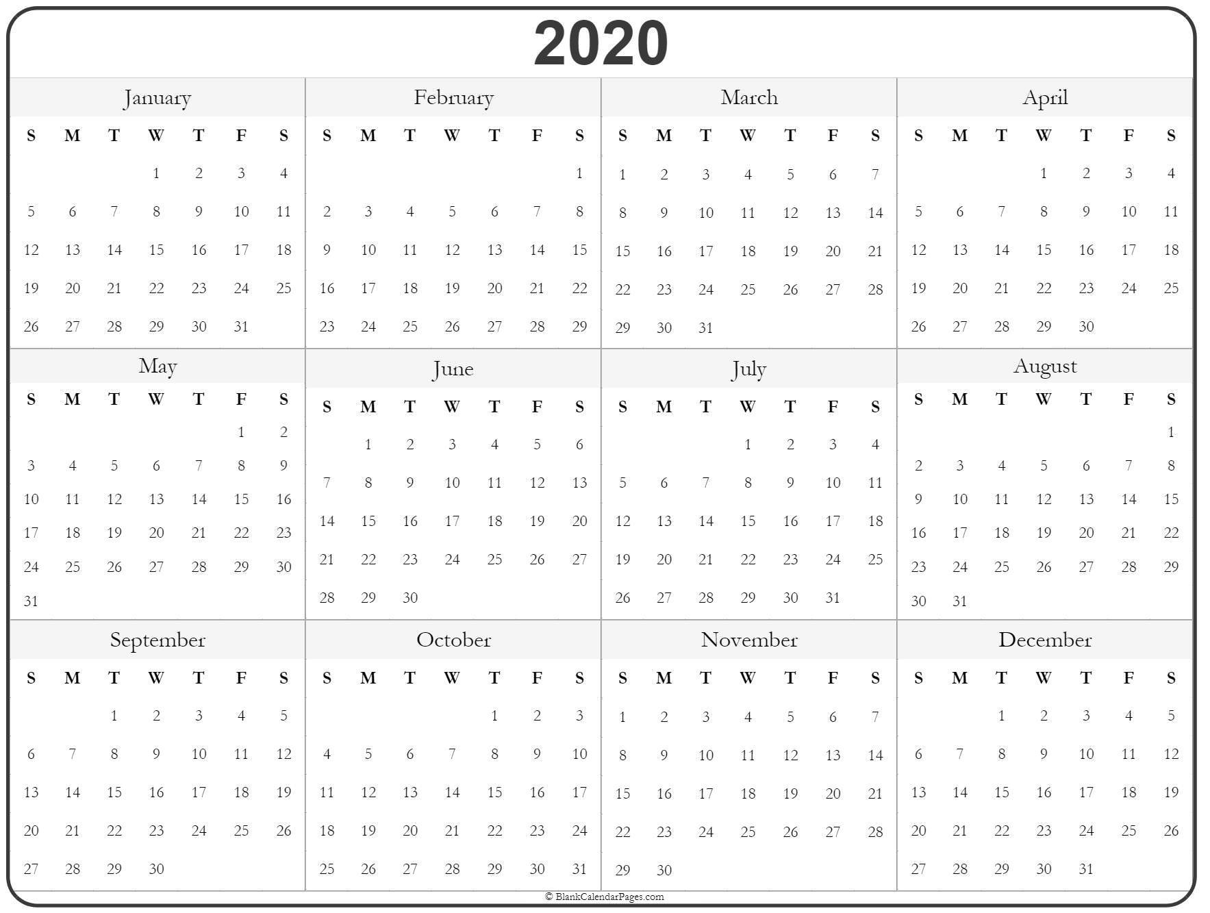 2020 Year Calendar | Yearly Printable  2020 Calendar Year Printable