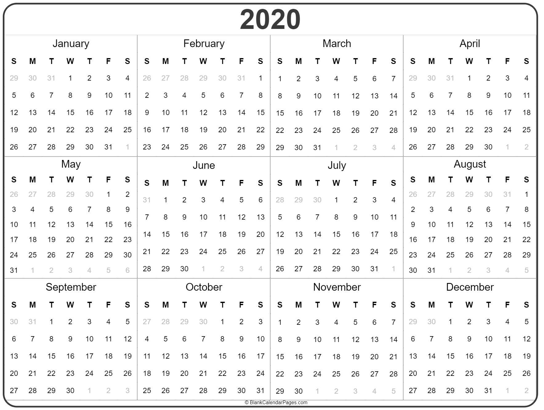 2020 Year Calendar | Yearly Printable  One Page Yearly 2020 Calendar Free Printable