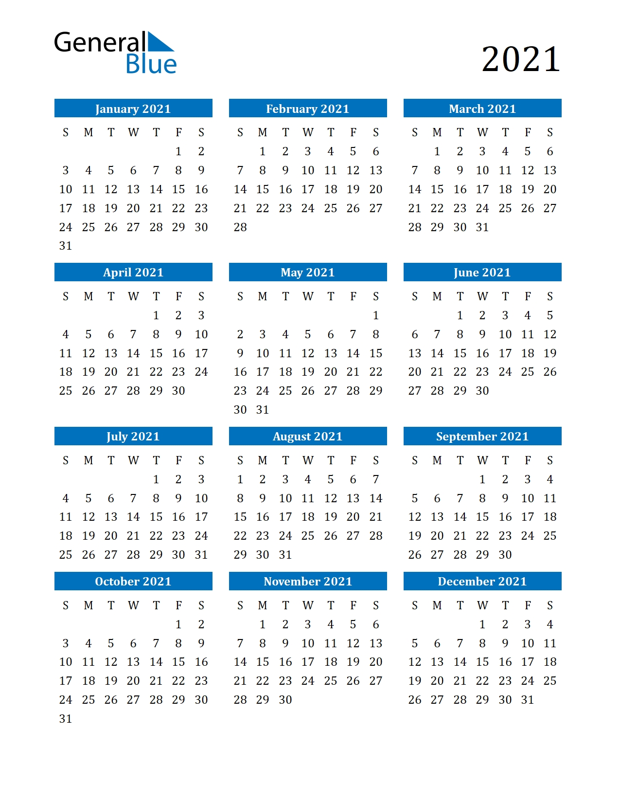 2021 Full Year Calendar - Template Calendar Design