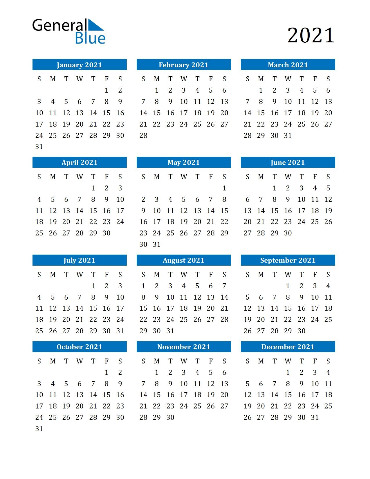 2021 Calendar (Pdf, Word, Excel)  4 Month Fillable Calendar 2021