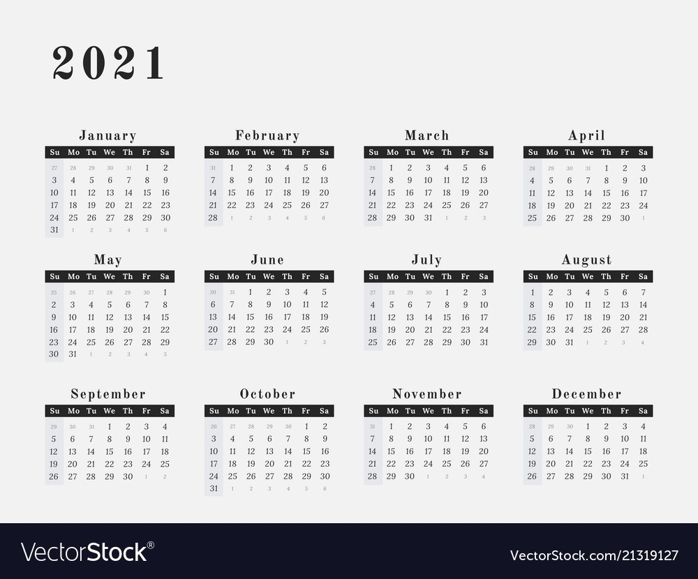 2021 Full Year Calendar - Template Calendar Design