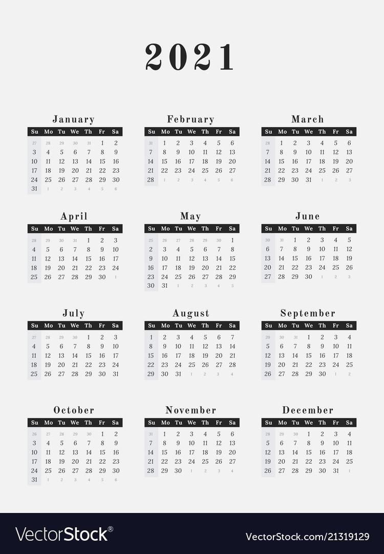 2021 Year Calendar Vertical Design  2021 Full Year Calendar