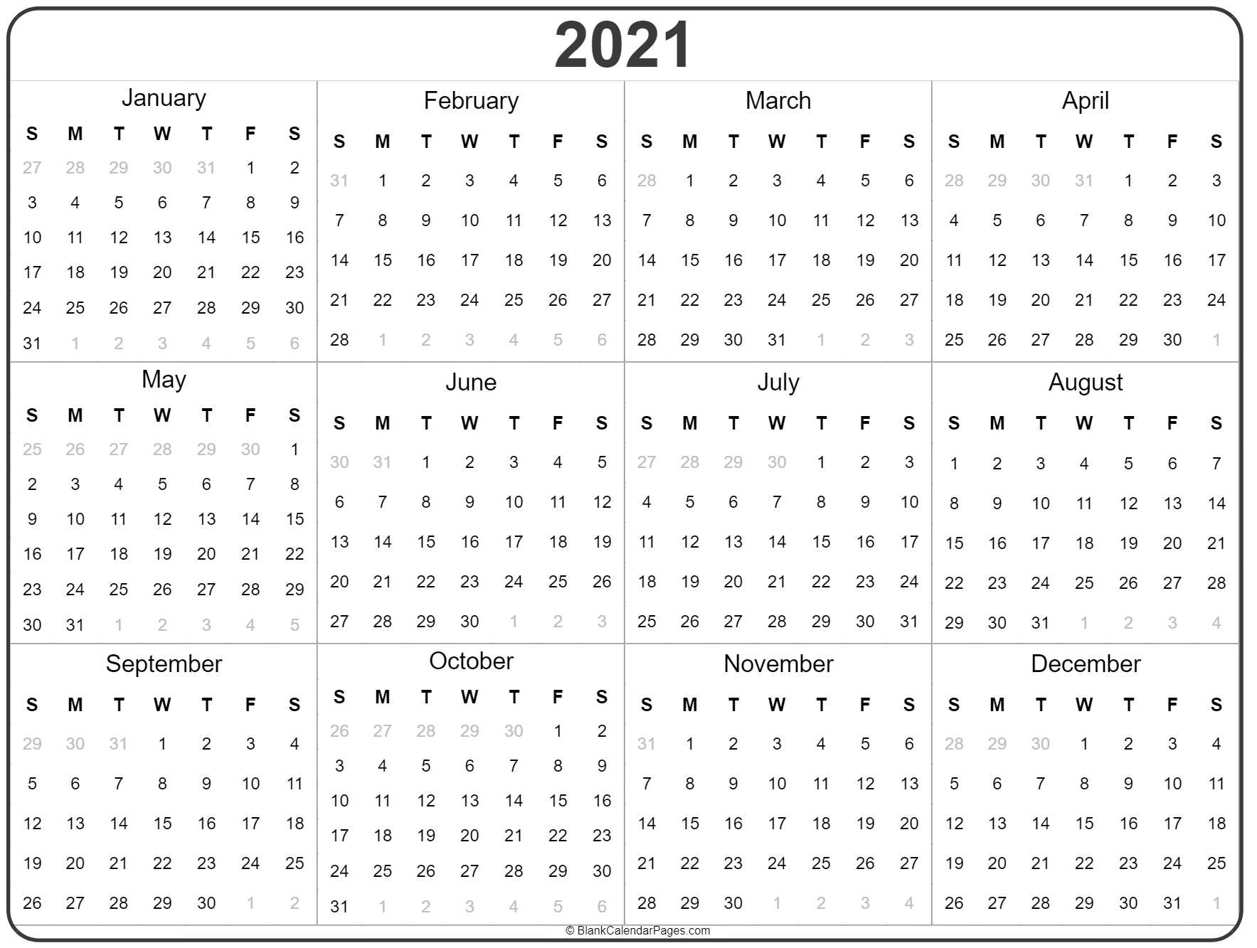 2021 Year Calendar | Yearly Printable  2021 Printable Calendar Free Full Page