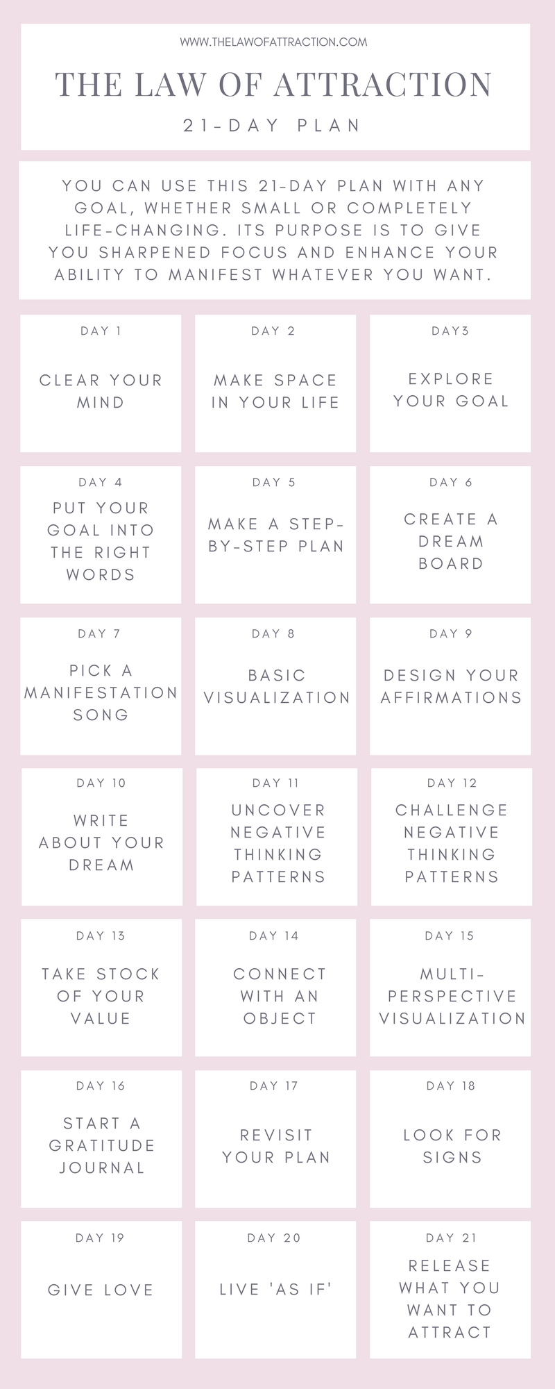 21-Day Challenge: The Law Of Attraction Plan For Manifesting  Free Fitness Challenge Templates