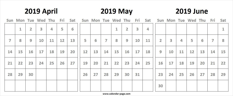 3 Month Calendar 2019 April May June | Blank 3 Month Calendar  3 Month Calendar Free Print