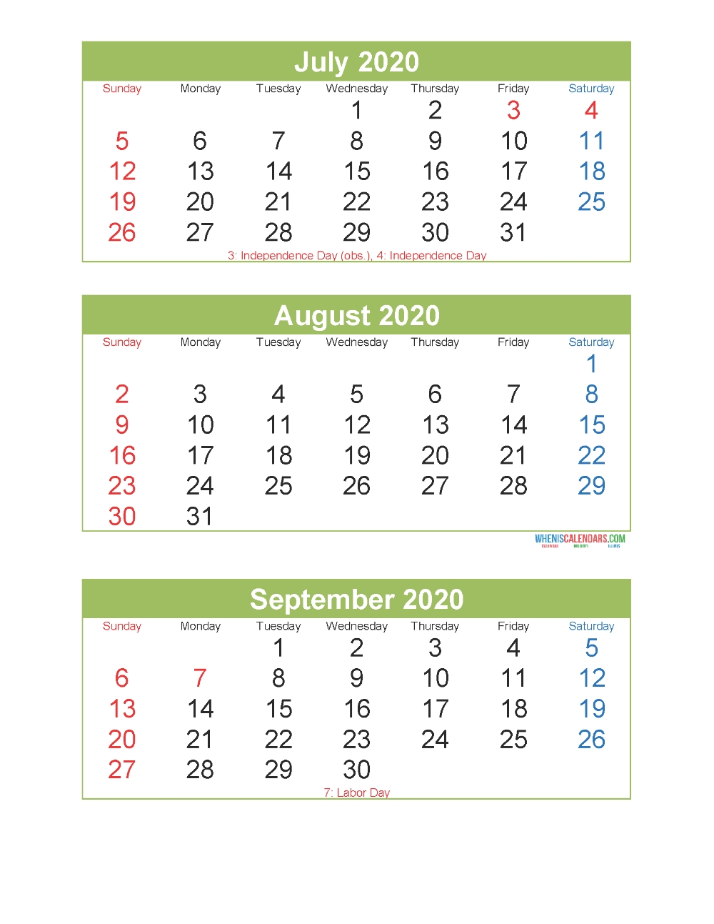 3 Month Calendar 2020 Printable July August September  3 Month Calendar Free Print
