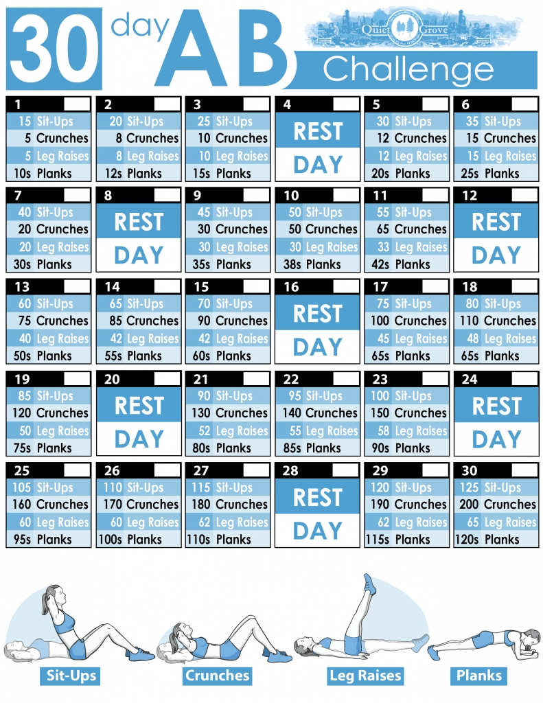 30-Day Ab Challenge (With Free Printable) ⋆ The Quiet Grove  Exercise Challenge Printable