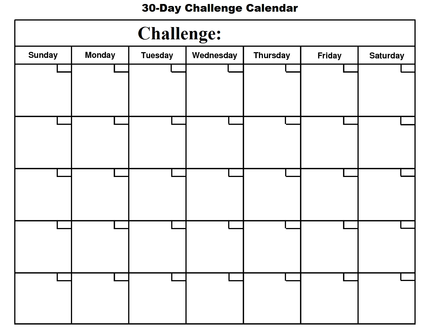 30 Day Challenge Calendar - Basic Growth  30 Day Challenge Charts