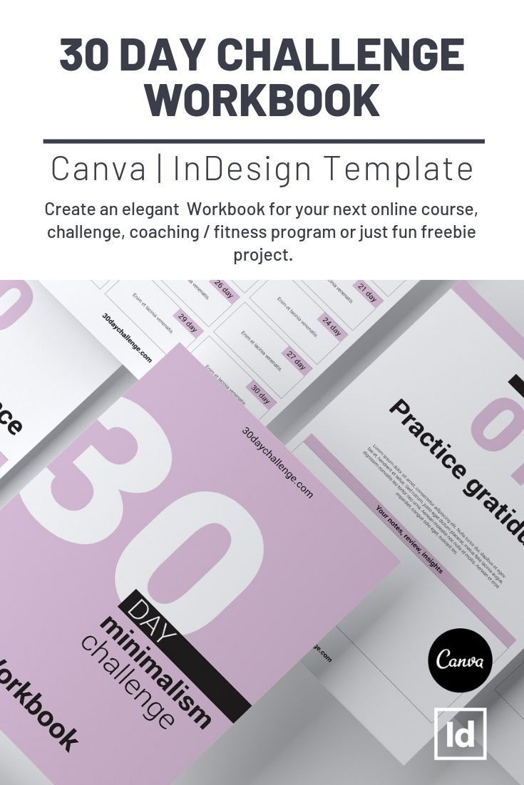 30 Day Challenge Workbook Canva Indesign Template | Workbook  Fitness Challenge Templates