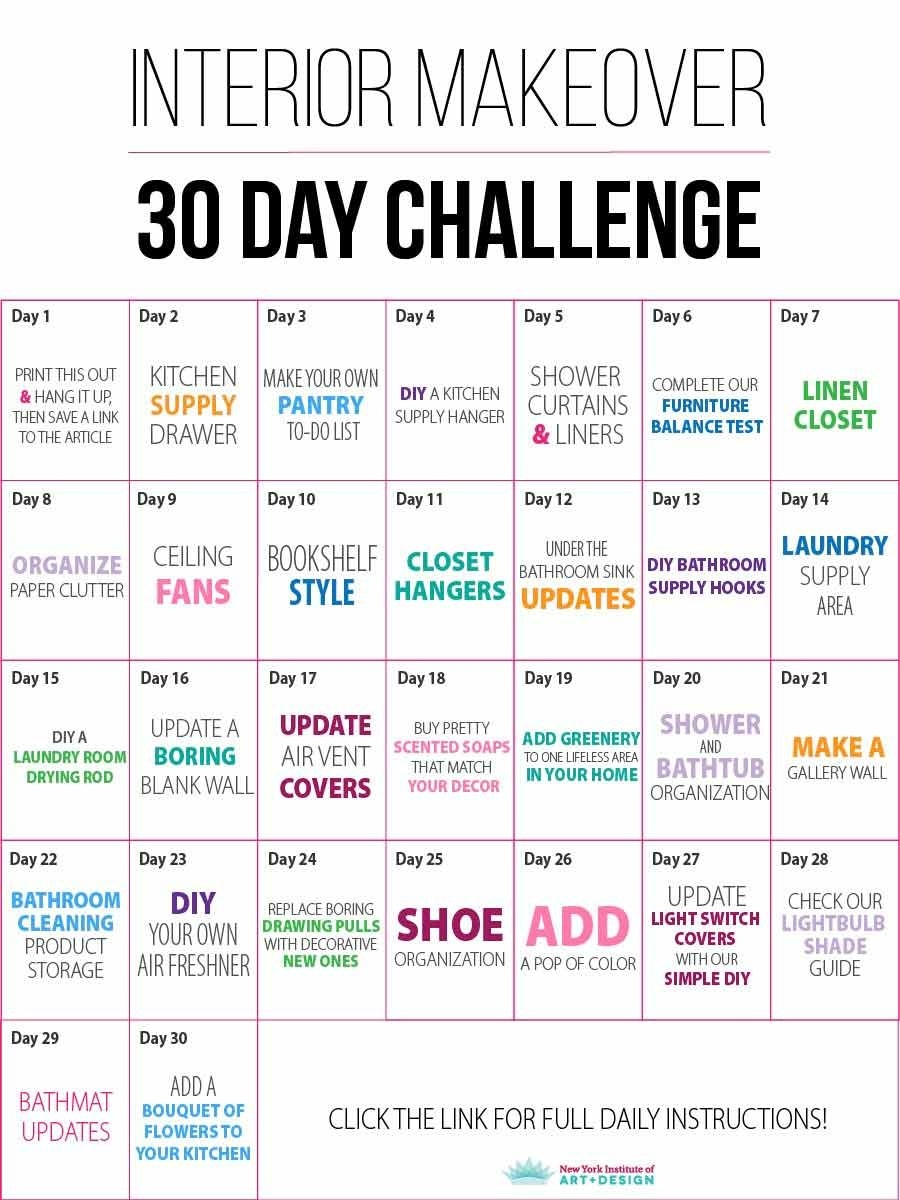 30 Day Interior Makeover Challenge - Nyiad Design Articles  30 Day Challenge Charts
