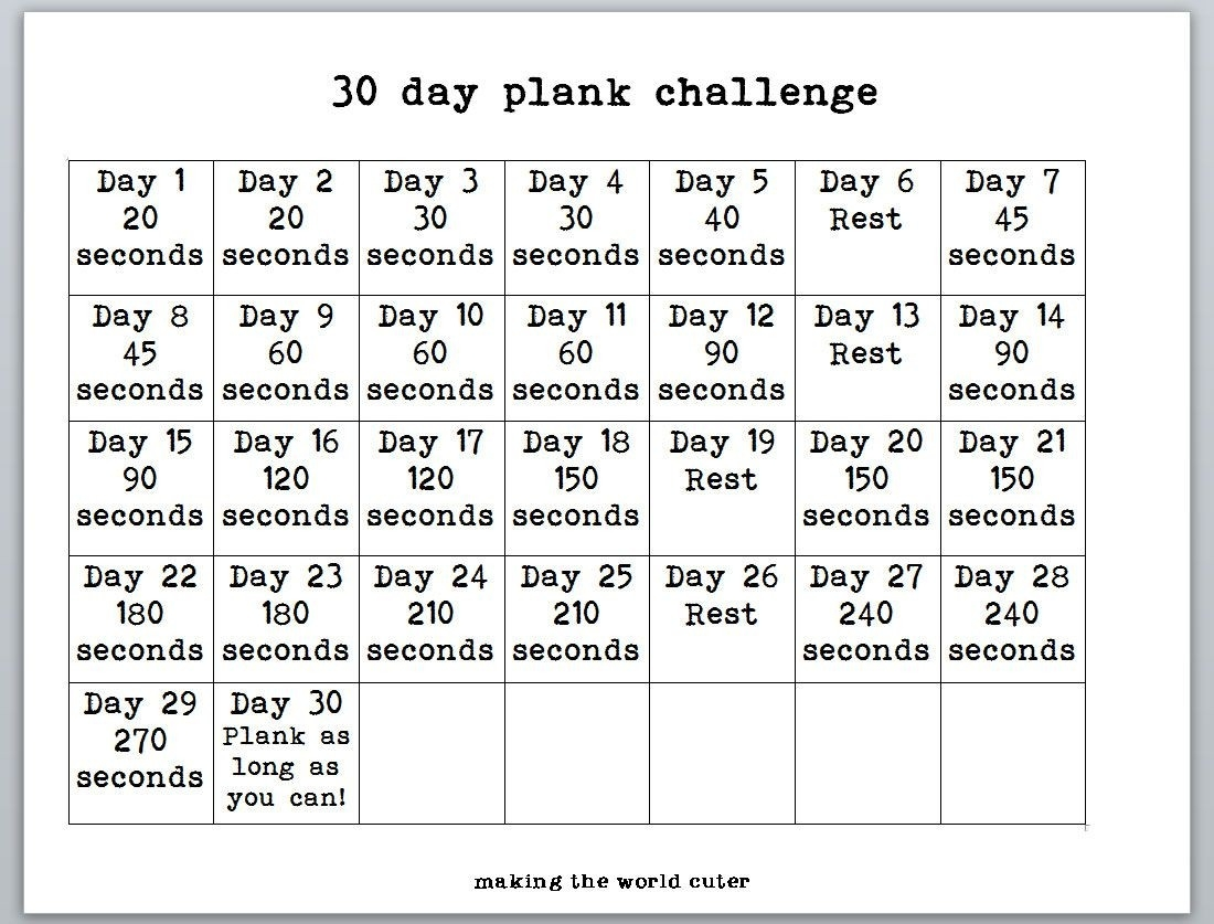 30 Day Plank Challenge Chart | 30 Day Plank Challenge, Plank  30 Day Challenge Charts