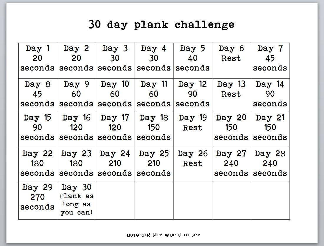 30-Day-Plank-Challenge-Chart  30 Day Printable Charts