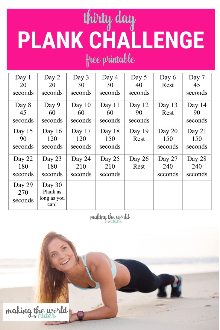 30 Day Plank Challenge Chart  30 Exercise Chart