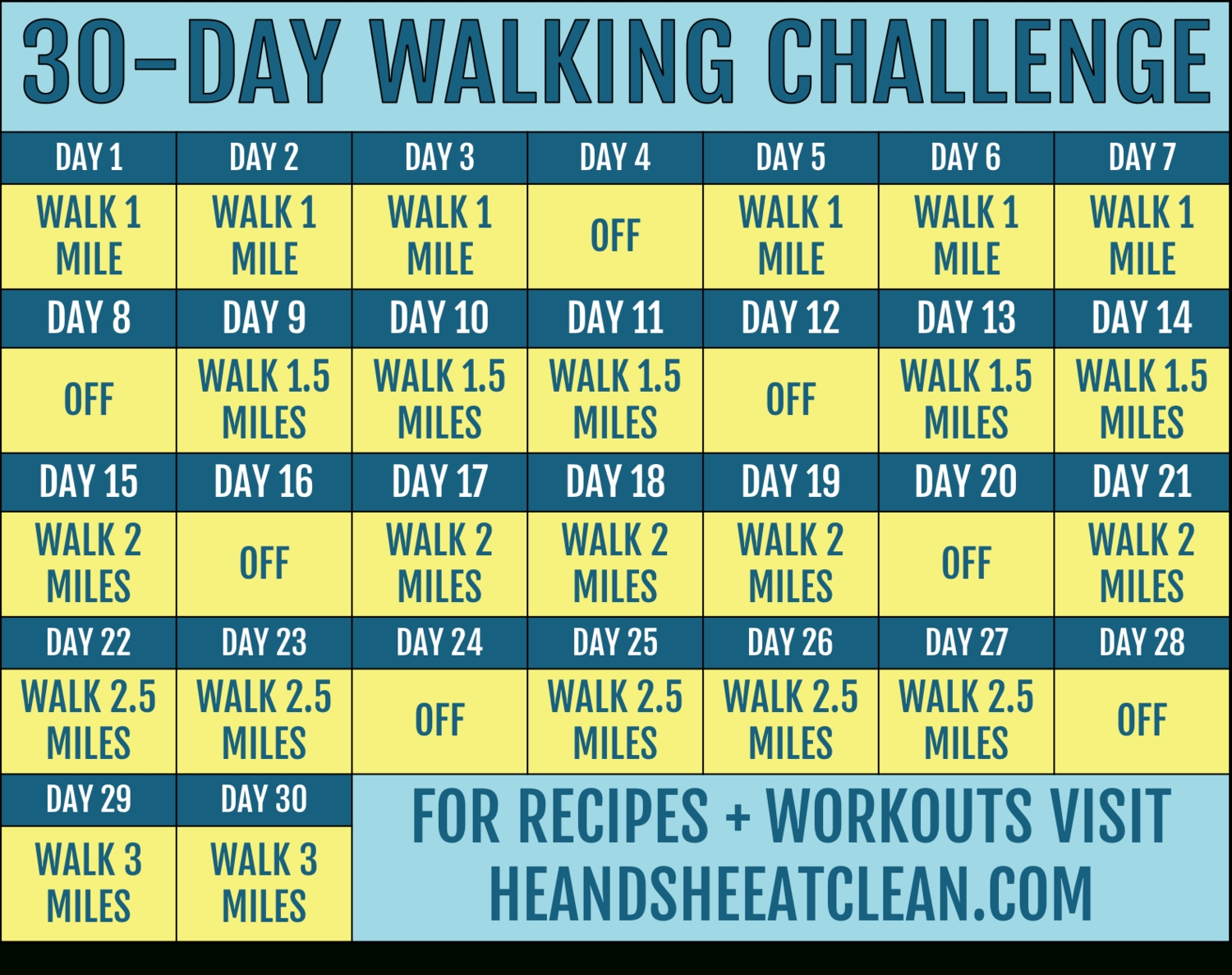 30-Day Walking Challenge With Printable Tracking Chart  Exercise Challenge Chart