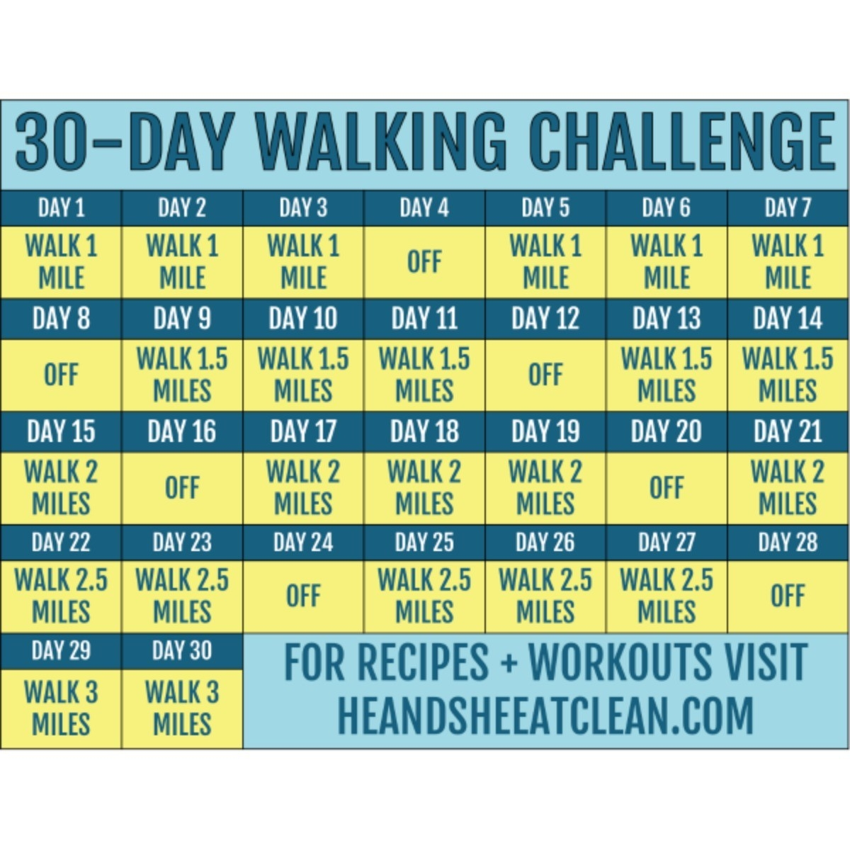30-Day Walking Challenge With Printable Tracking Chart  Exercise Challenge Printable