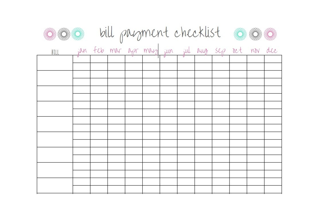 33 Free Bill Pay Checklists & Bill Calendars (Pdf, Word & Excel)  Free Printable Bill Pay Worksheet