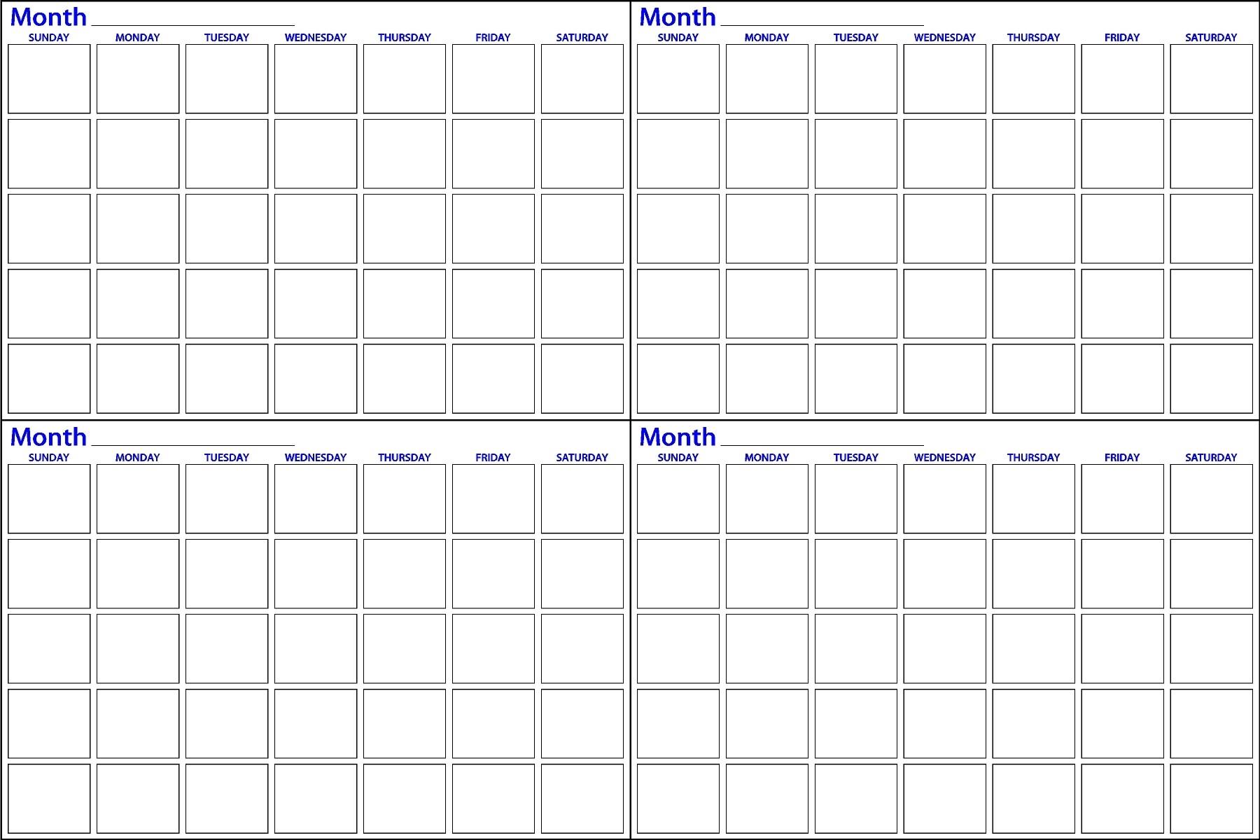 4 Month Blank Calendar - Mangan  Blank Calendar 4 Months