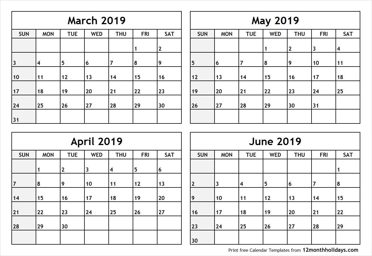 4 Month Calendar - Mangan  Blank Calendar 4 Months