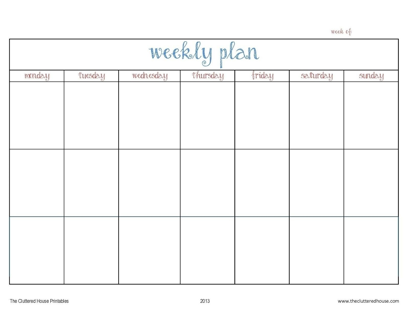 7 Day Weekly Planner Template Printable – Template Calendar  Design 7 Days Calendar Pdf