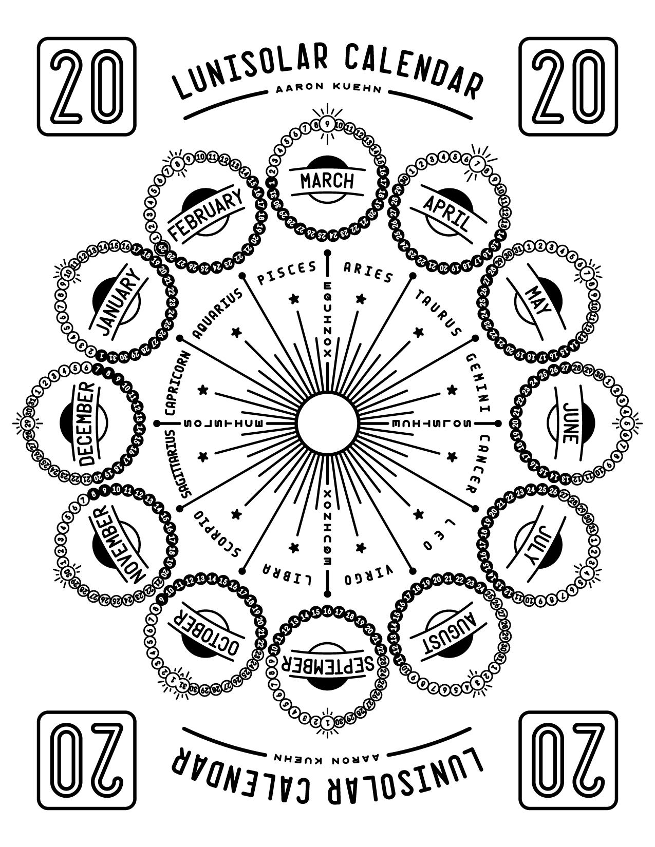 Aaron Kuehn | 2020 Lunisolar Calendar  2020 Solar Calendar Vs Lunar Calendar