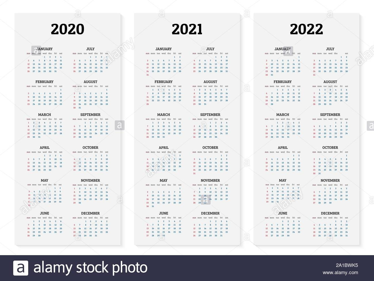 Annual Calendar 2020, 2021 And 2022 Template. Vector  Calenadrio Juliano 2020