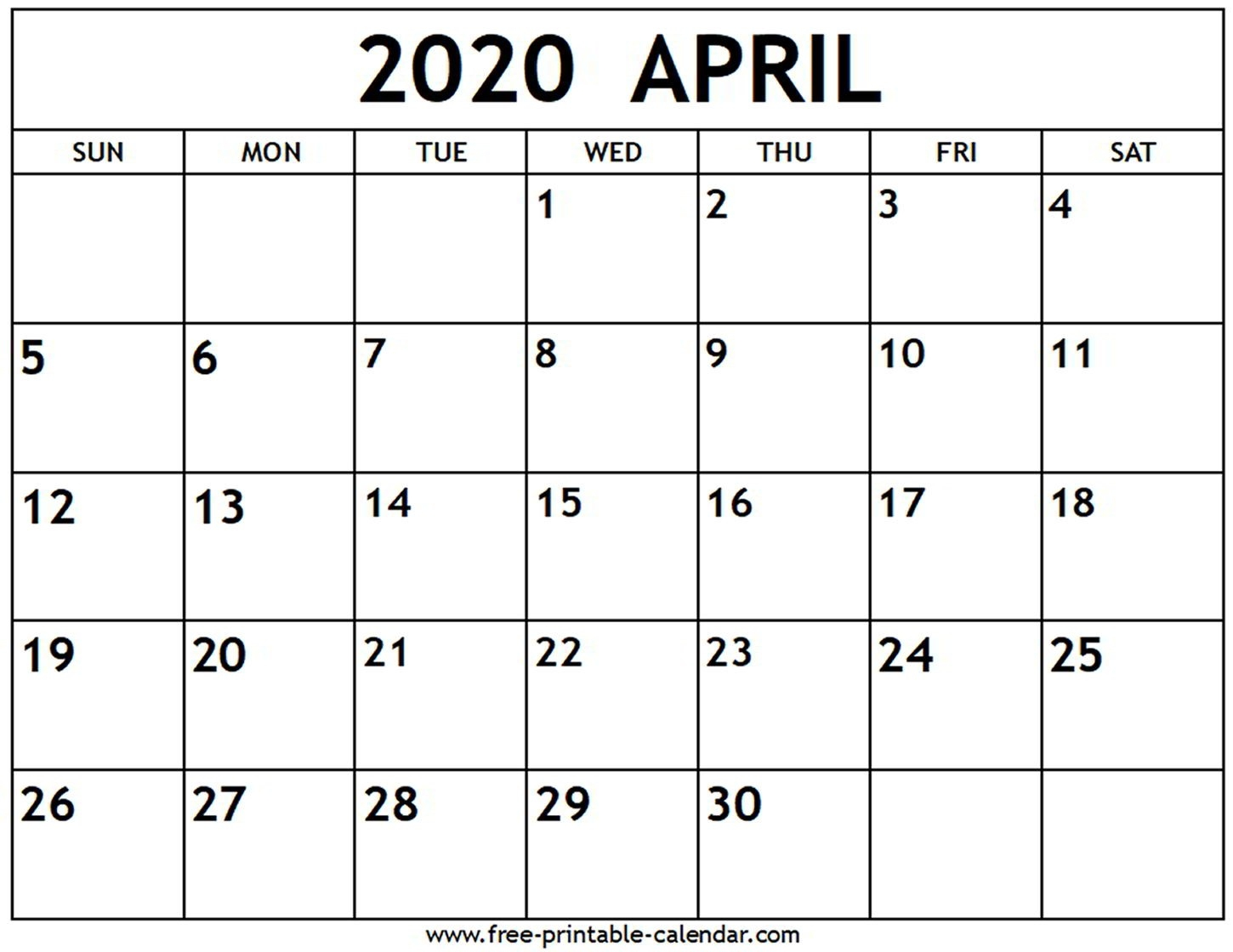April 2020 Calendar - Free-Printable-Calendar  Printable March 2020 Calendar Pdf