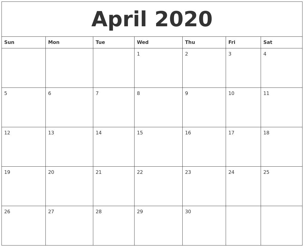 April 2020 Free Online Calendar  Free Online Calendars 2020 Printable