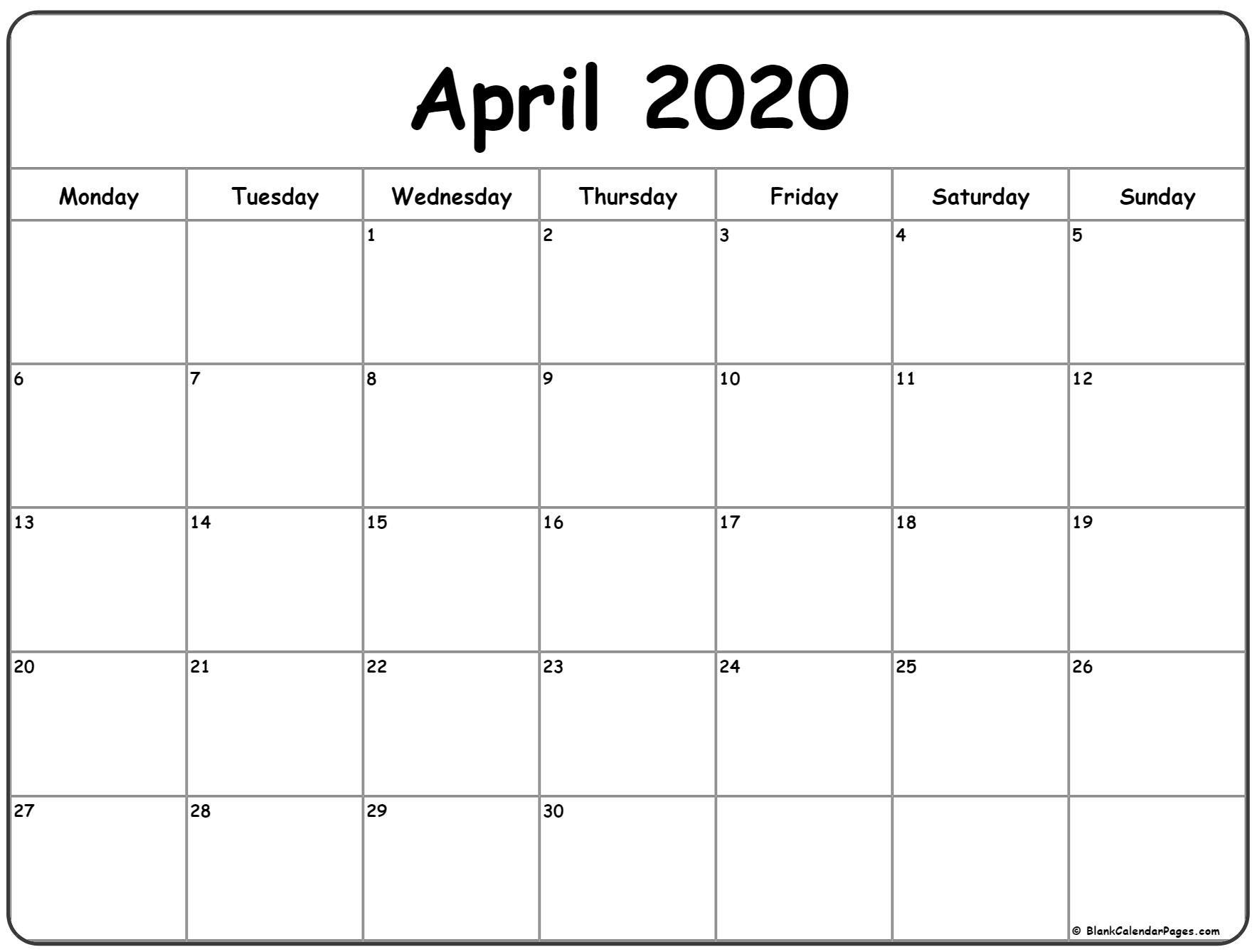 April 2020 Monday Calendar | Monday To Sunday  Monday To Sunday Calendar Template