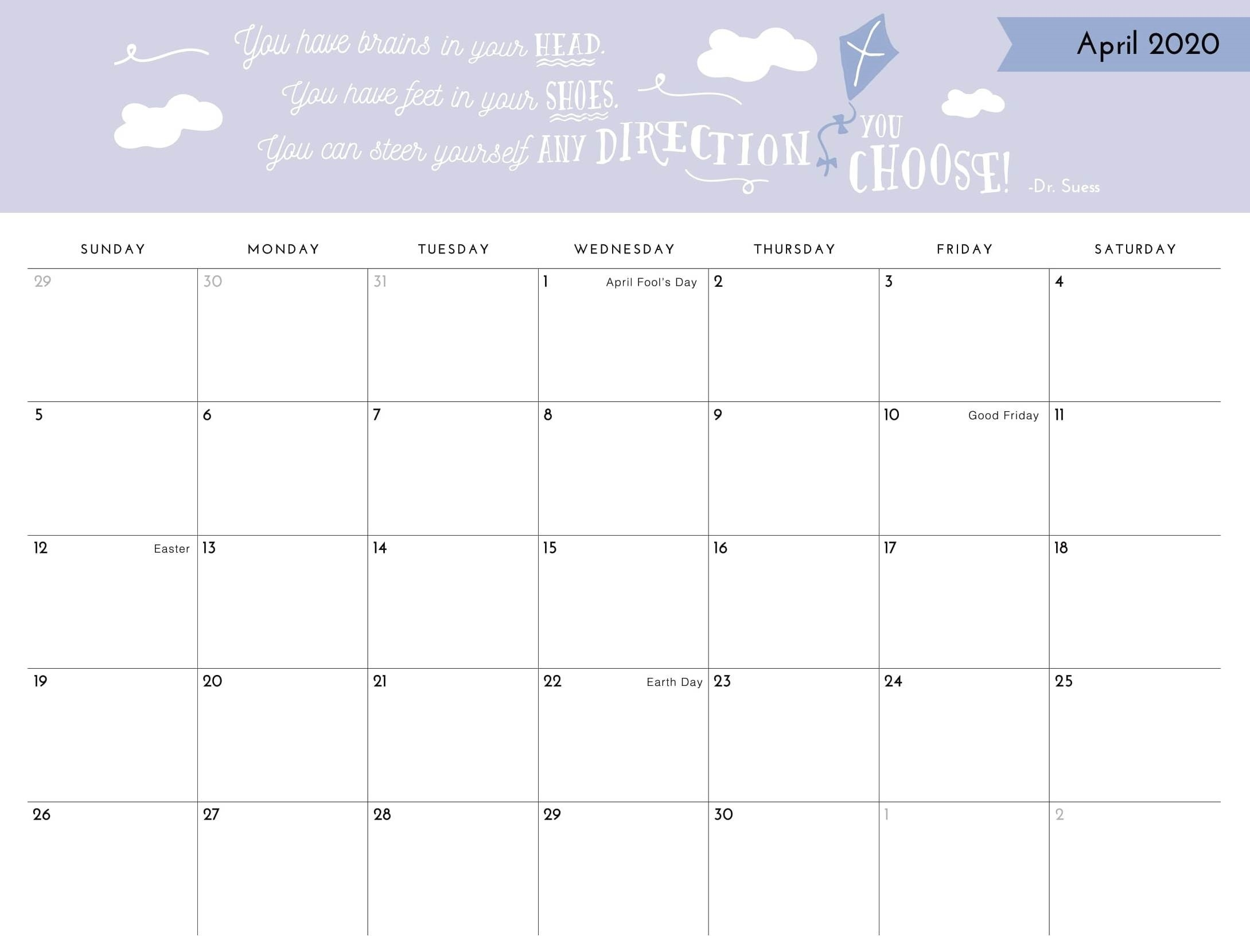 April 2020 Printable Calendar Template With Holidays - Web  Calendar Templates For Churches