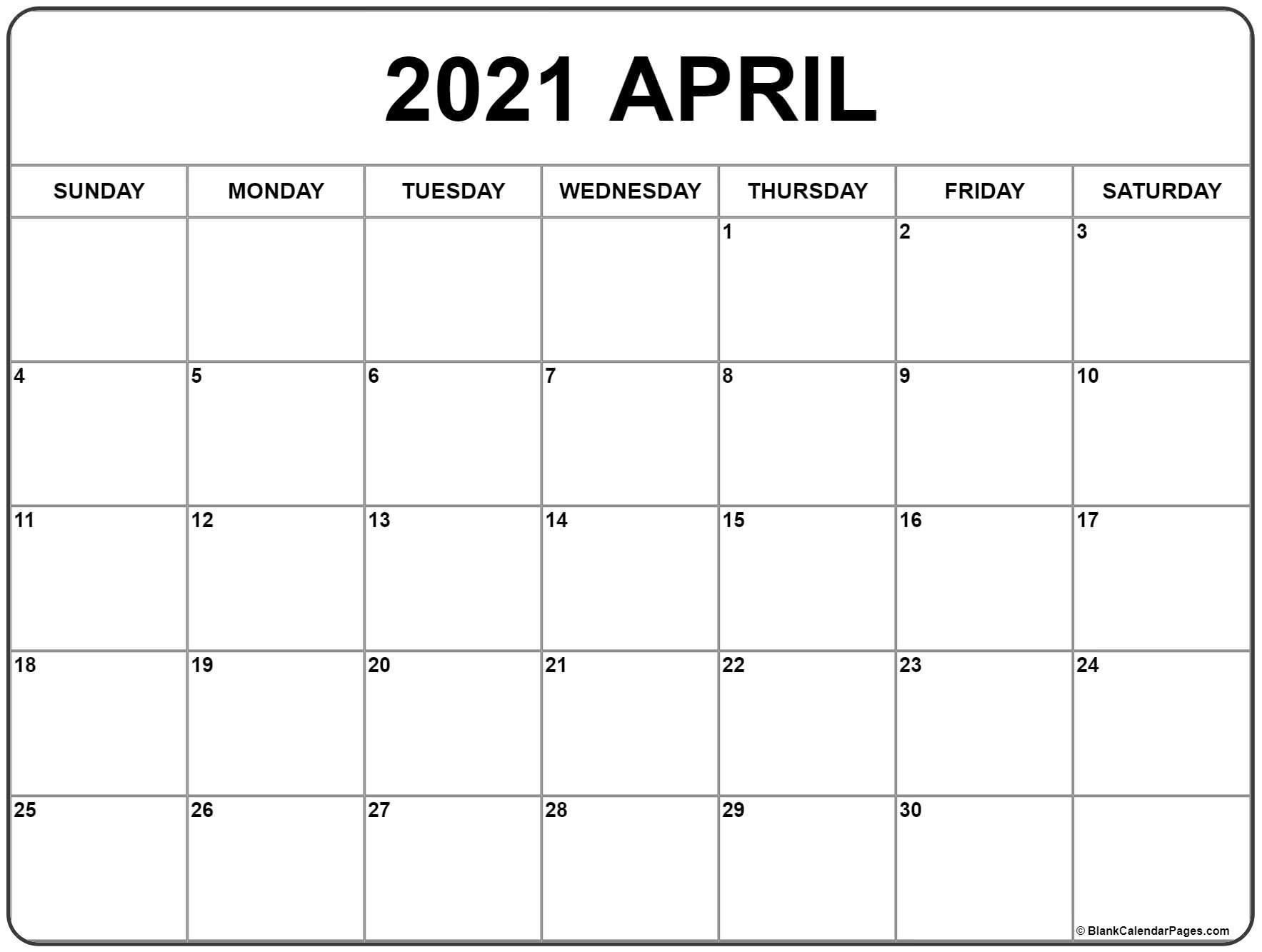 April 2021 Calendar | Free Printable Monthly Calendars  2021 Monthly Calendar Printable Pdf