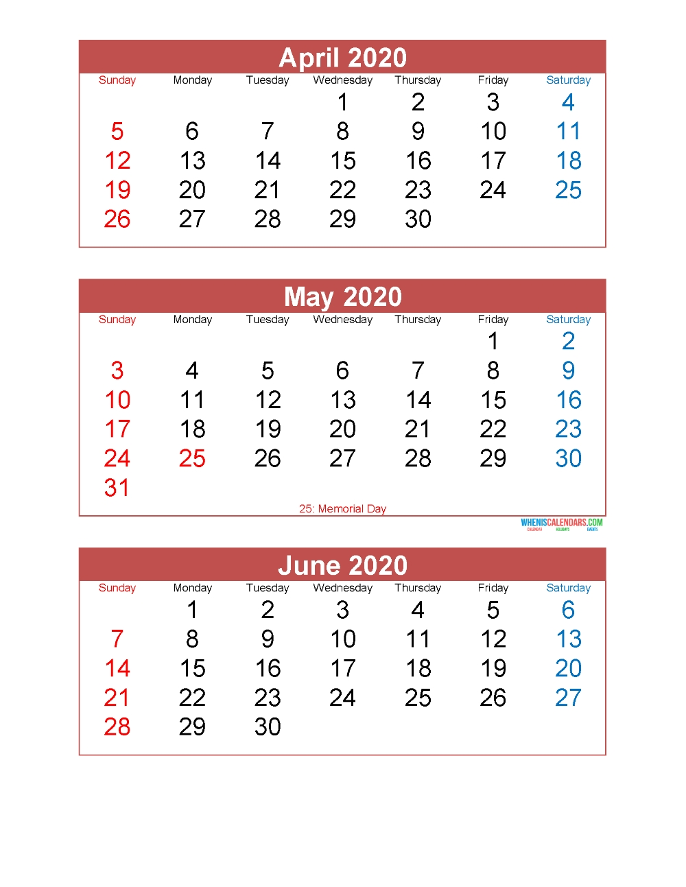 April May June 2020 Calendar 3 Months Per Page Printable  2020 Calendar Template Free 3 Months Per Page