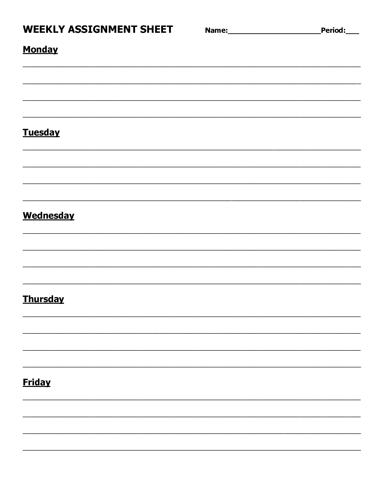 Assignment Log | Homework Log Template Picture | Assignment  Weekly Assignment Log
