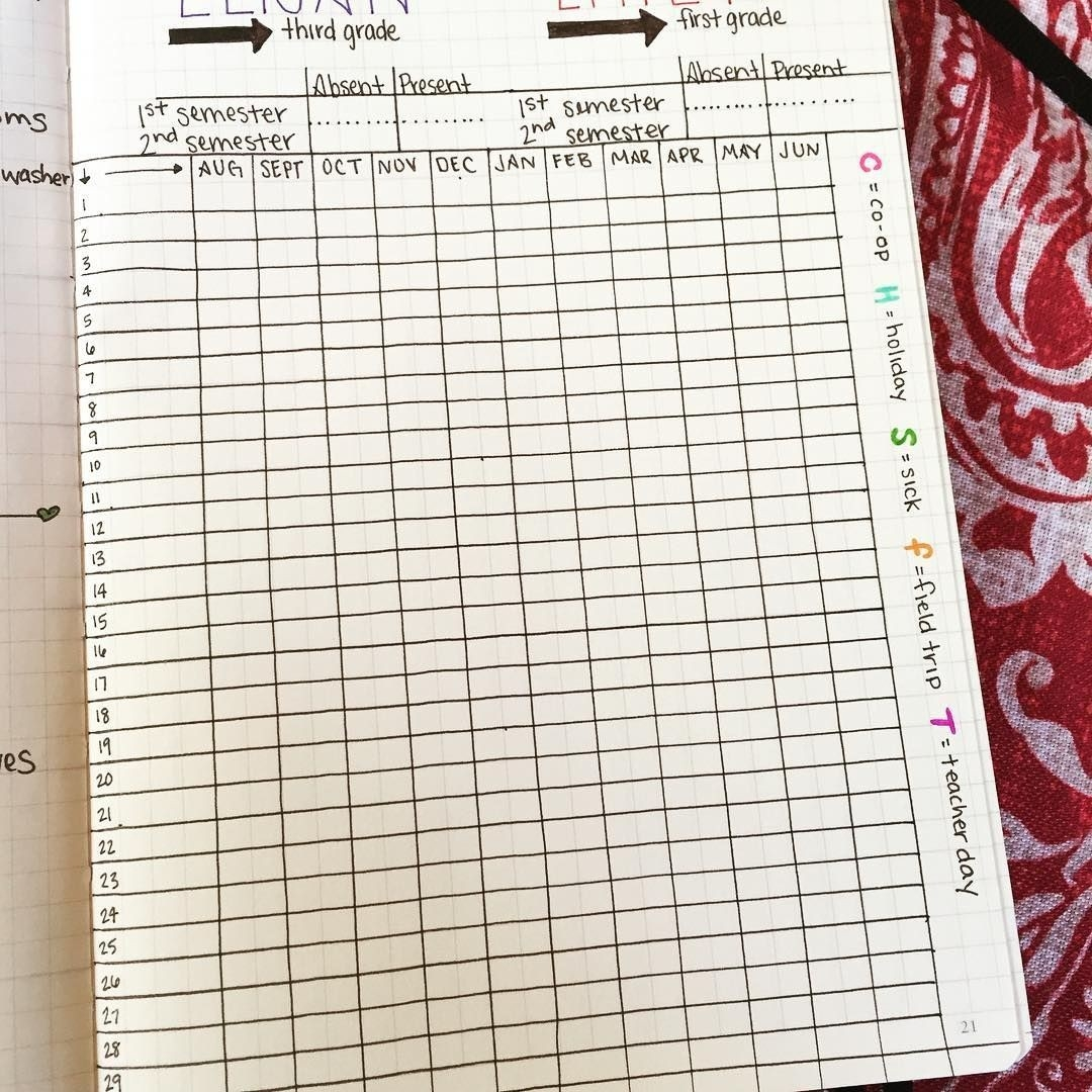 Attendance Log. Time To Prepare For #homeschool ! #bujo  March 2020 Homeschool Attendence Tracker