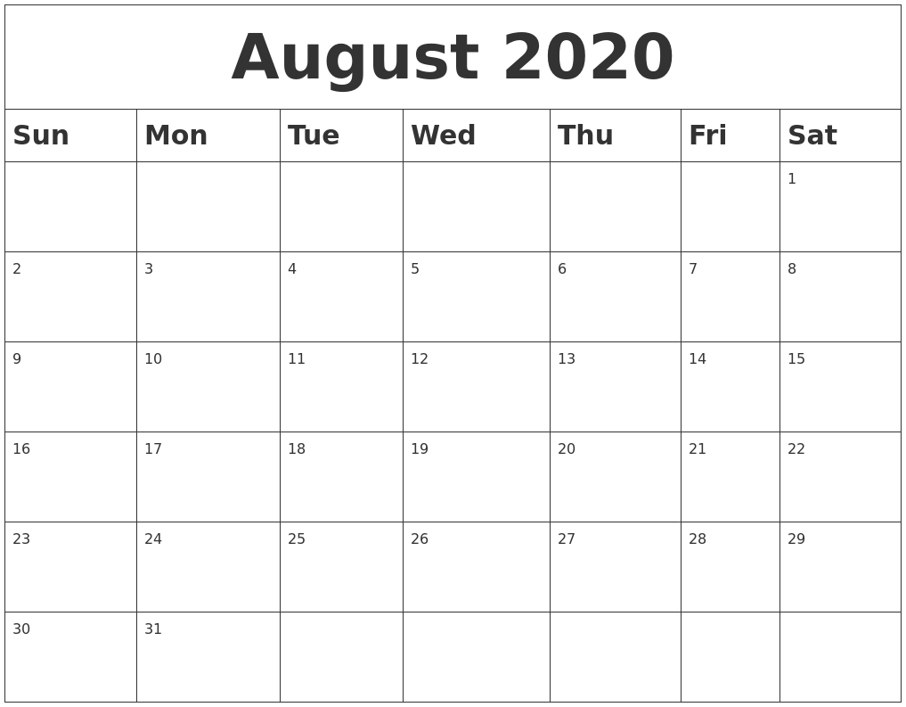 August 2020 Blank Calendar  Blank Calendar 2020