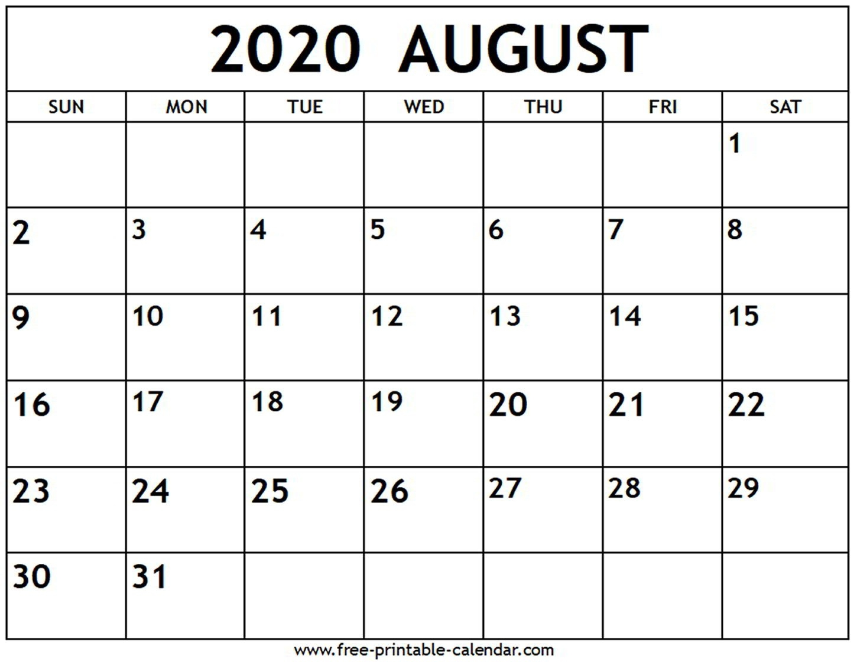 August 2020 Calendar - Free-Printable-Calendar  Blank Calendar For August 2020 Printable