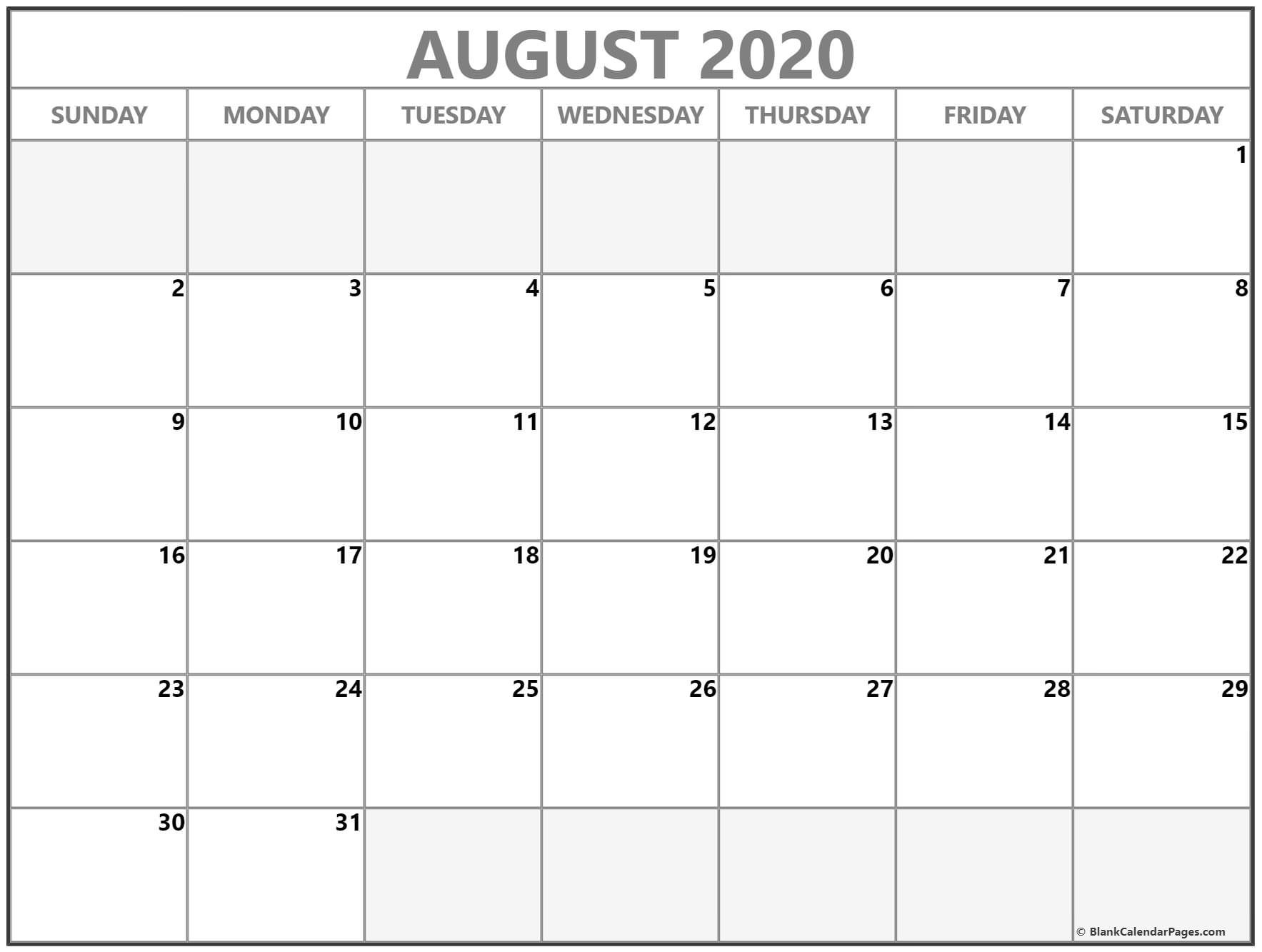 August 2020 Calendar | Free Printable Monthly Calendars  August 2020 Calendar